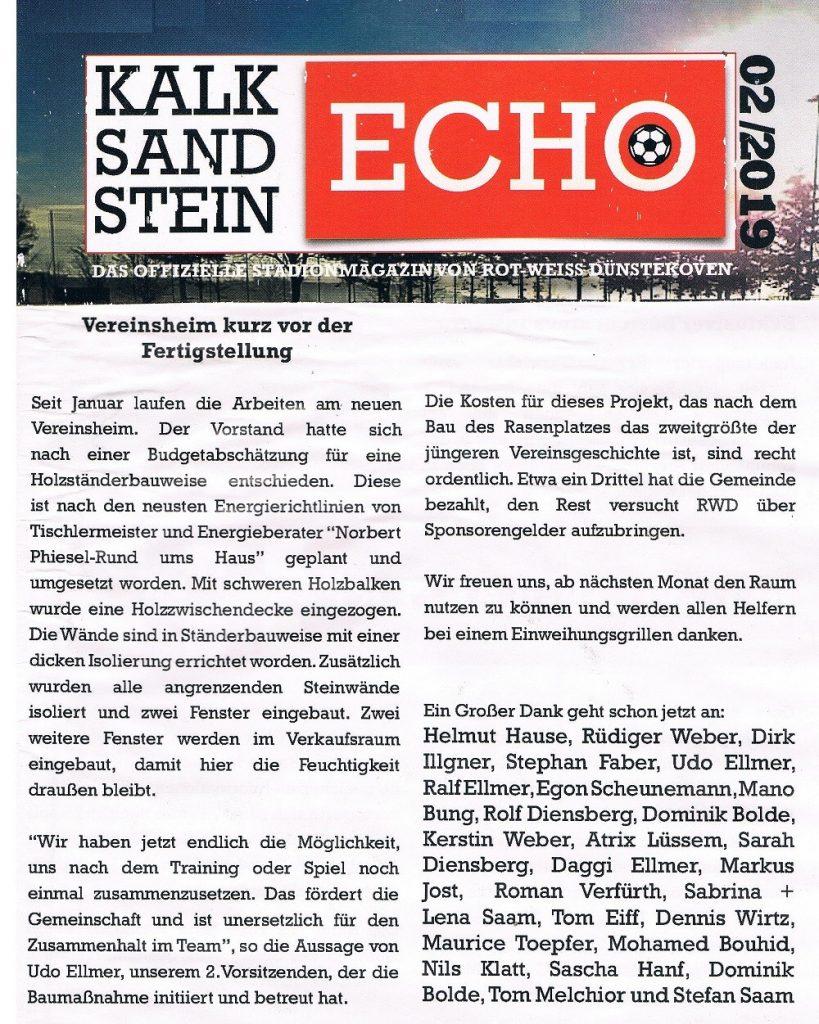 Bericht Umbau Sportlerheim Bonn